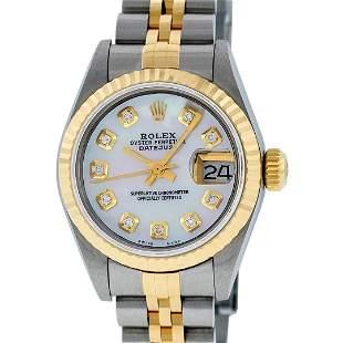 Rolex Ladies 2 Tone Quickset 18K Mother Of Pearl