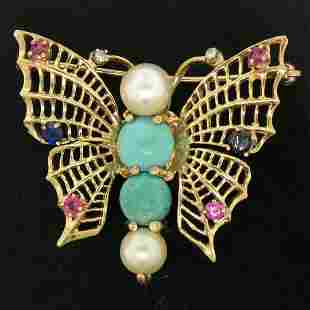 14k Yellow Gold Open Turquoise Pearl Sapphire Ruby