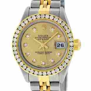 Rolex Ladies Quickset 2 Tone Champagne Channel Diamond