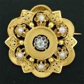 Antique Victorian 18K Yellow Gold Diamond Pearl