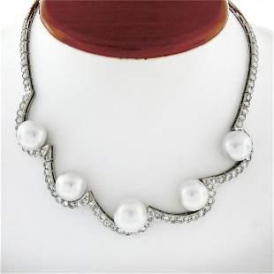 Platinum 10.25 ctw Diamond & Floating South Sea Pearl