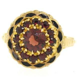 Vintage 14k Yellow Gold 1.5 ctw Round Garnet & Black
