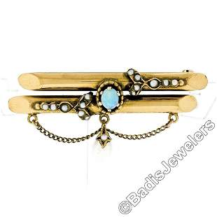 Victorian 14kt Gold Opal, Seed Pearl, & Natural Pearl