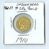 8: 1910 Indian Head $2.5 Gold Coin DF DGC17