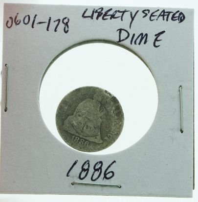 17: 1886 Seated Liberty Silver Dime 0601178