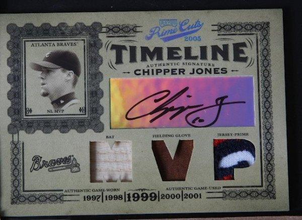 18: 2005 Prime Cuts Chipper Jones Autograph, Jersey, Ba