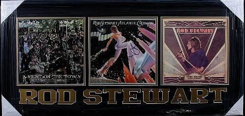 22: Rod Stewart Autographed Album/Photo Collage x3