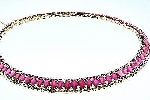 10: Ruby / Diamond Necklace 87.39ctw - NR1