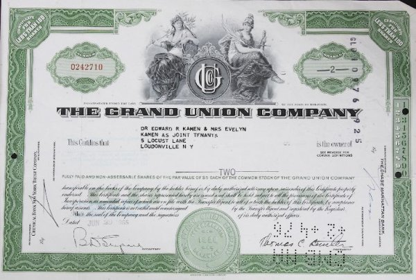 13: Common Stock The Grand Union Co. Less than 100 Shar