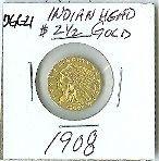 14: 1908 Indian Head $2.5 Gold Coin DF DGC21