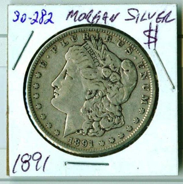 20: 1891 Morgan Silver Dollar SD282