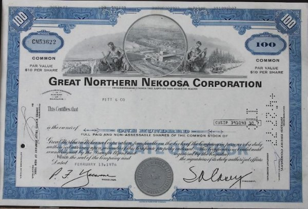 26: Common Stock Great Northern Nekoosa Corp. 100 Share