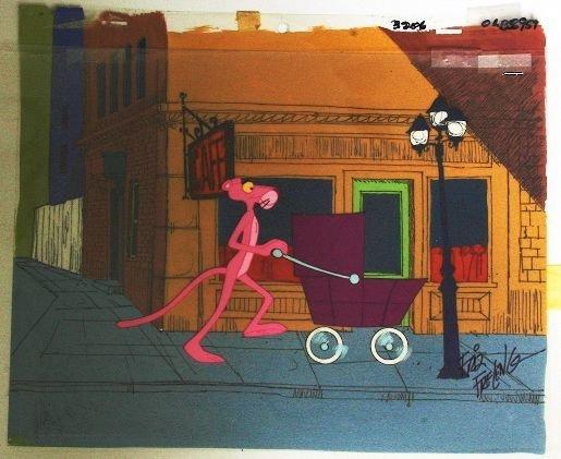 1: F. Freleng - Pink Panther Cartoon Cel Baby Buggy