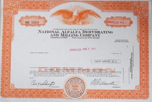 8: Common Stock National Alfalfa Dehydrating and Millin