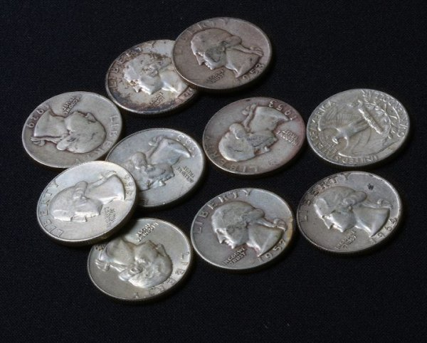 13: Collection of U.S. Silver Quarters (10) K64