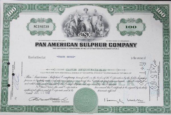 14: Common Stock Pan American Sulphur Co. 100 Shares