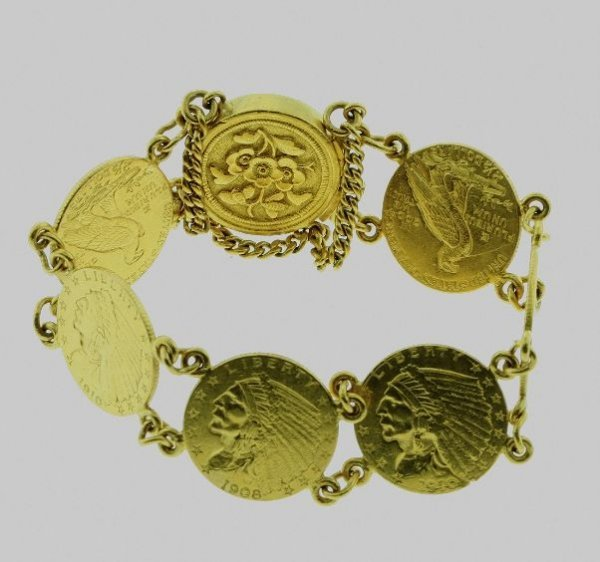 73: $2 1/2 Indian Head Gold Coin Bracelet 6 Coins 1908-