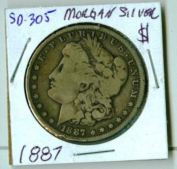 4: 1887 Morgan Silver Dollar SD305
