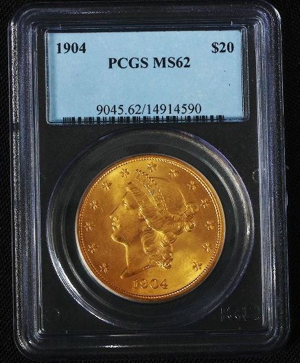 44: 1904 Liberty $20 Gold Coin MS62 - DF111