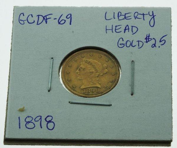 2: 1898 Liberty Head $2.5 Gold Coin - GCDF69
