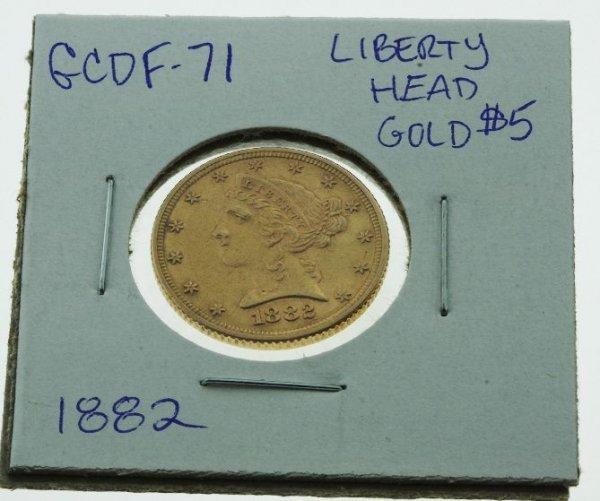 9: 1882 Liberty Head Gold Coin $5 - GCDF71