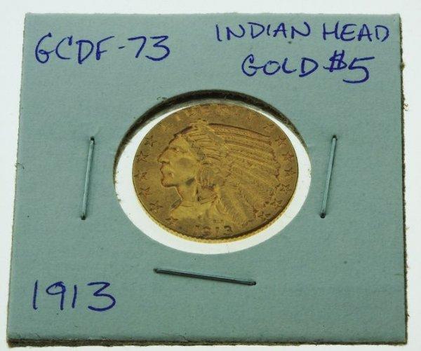 20: 1913 Indian Head Gold Coin $5 - GCDF73