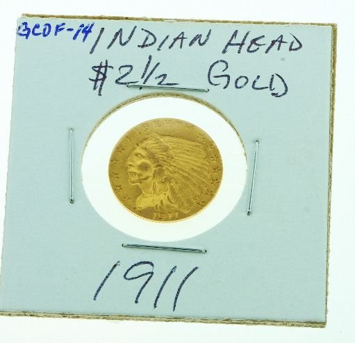 8: 1911 Indian Head $2 1/2 Gold GCDF14