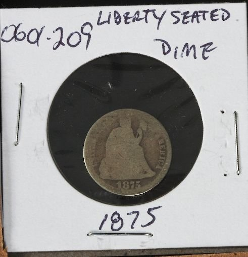 19: 1875 Silver Dime Seated Liberty 0601209
