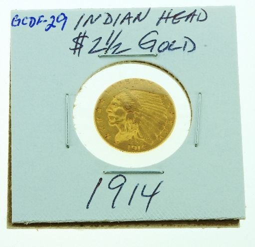 25: 1914 Indian Head $2 1/2 Gold GCDF29