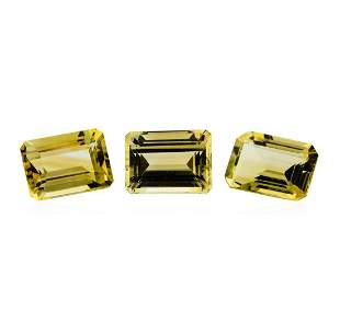 21.38 ctw.Natural Emerald Cut Citrine Quartz Parcel of
