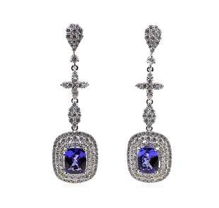 4.99 ctw Tanzanite and Diamond Earrings - 14KT White