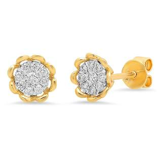 14k Gold 0.24CTW Diamond Earrings, (I1/G-H)