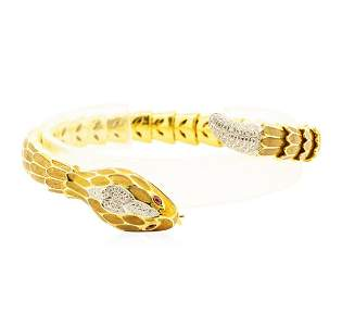 18KT Yellow Gold David Webb Snake Flexable Bangle