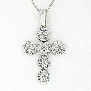 New 14kt White Gold 0.85 ctw Ideal Cut Diamond Multi
