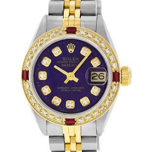 Rolex Ladies 2 Tone YG/SS Purple Diamond & Ruby Oyster