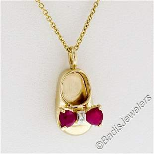 14kt Yellow Gold 0.33 ctw Ruby and Diamond Bow Baby
