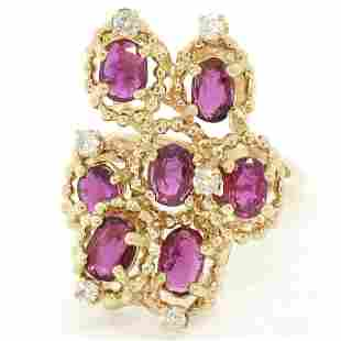 14kt Yellow Gold 2.14 ctw Ruby and Diamond Cluster