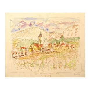 "Wayne Ensrud ""Chambolle-Musigny, Burgundy"" Mixed Media"
