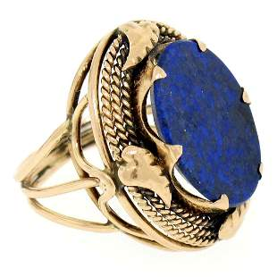 Antique 14kt Rose Gold Oval Lapis Ring w/ Twisted Wire