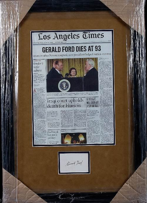 3: President Gerald Ford Autographed Newspaper Collage