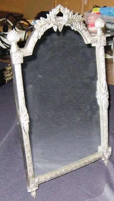 "5A: Antique Style Table Top 16"" Pewter Mirror"