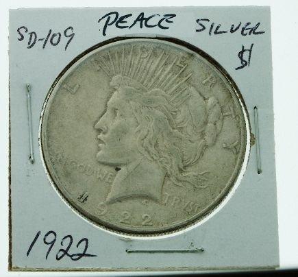 12: 1922 Peace Silver Dollar - SD109