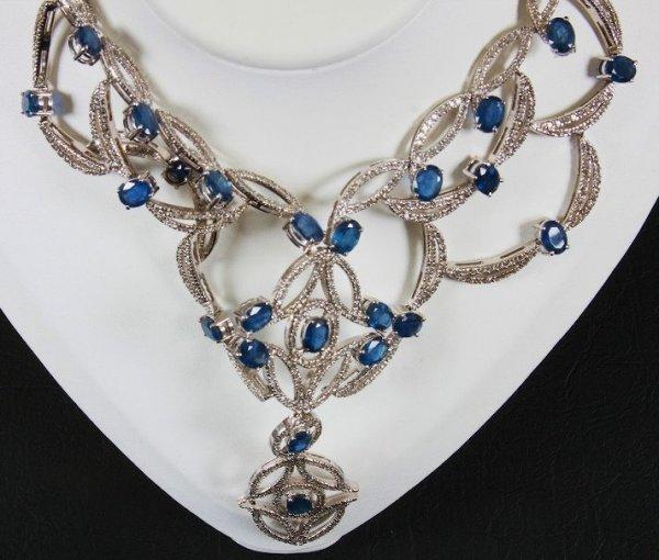 29: Sapphire & Diamond Necklace 50.72ctw - NS1