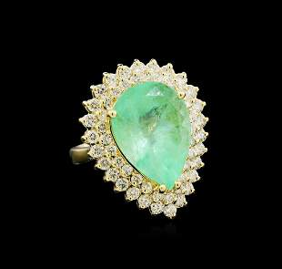 GIA Cert 9.78 ctw Emerald and Diamond Ring - 14KT