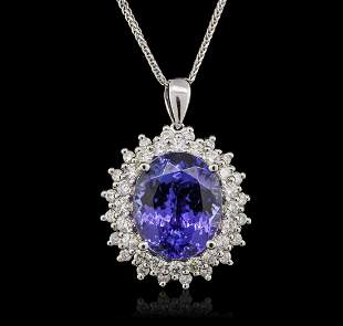 14KT White Gold 9.14 ctw Tanzanite and Diamond Pendant