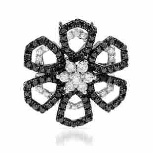 18k White Gold 0.87CTW Diamond and Black Diamonds