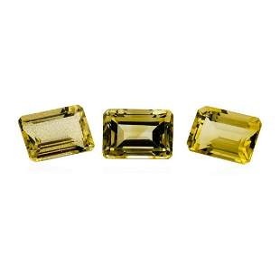24.04 ctw.Natural Emerald Cut Citrine Quartz Parcel of