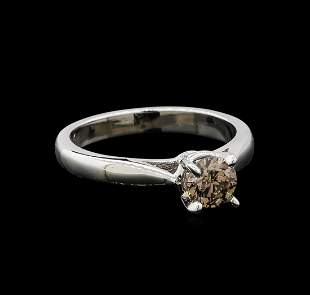 14KT White Gold 0.67 ctw Round Cut Fancy Brown Diamond