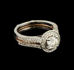 1.28 ctw Diamond Wedding Ring Set - 14KT Rose and White