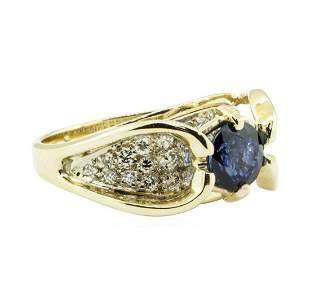2.24 ctw Round Brilliant Blue Sapphire And Diamond Ring